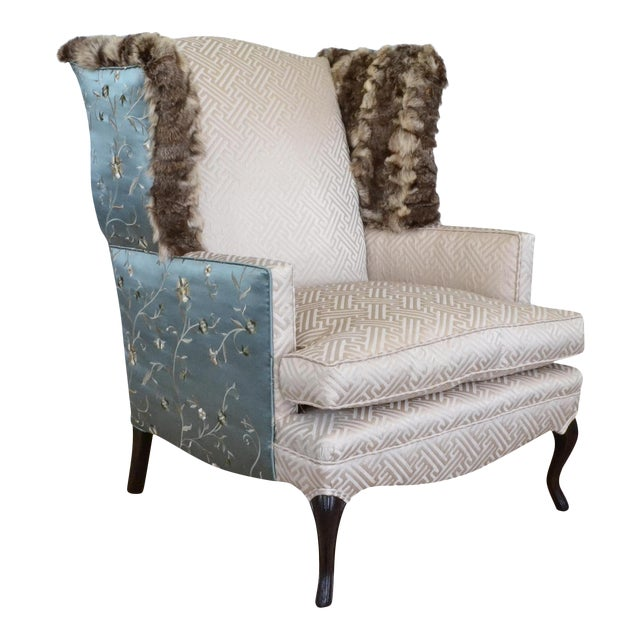 Silk & Fur Teal & Champagne Wingback Chair For Sale