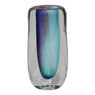 Murano Glass Vase Sommerso Technique Blue Violet Raspberry Clear Signed by the Artist For Sale
