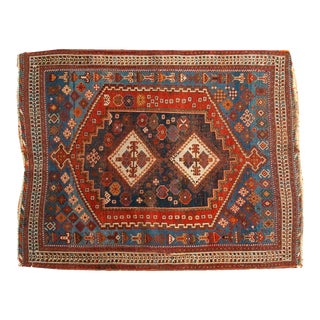 "Antique Persian Afshar Square Rug- 3'6"" X 4'5"""