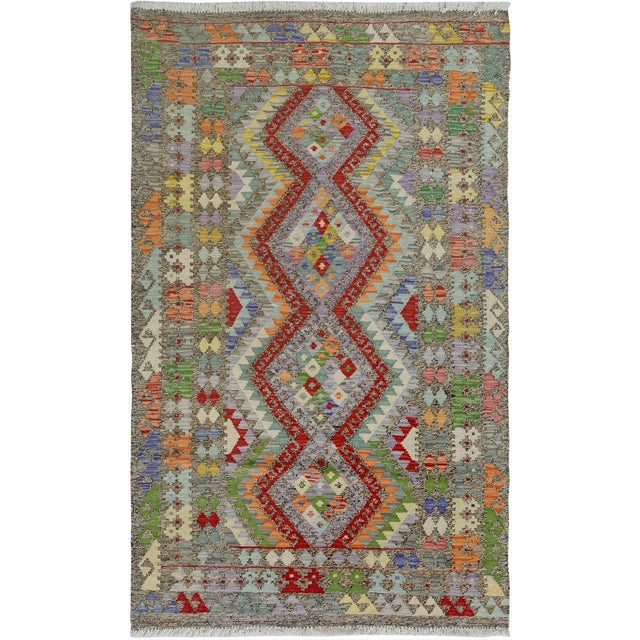 """Gray Hand Knotted Traditional Design Uzbak Wool Kilim Rug-3'11"""" X 6'0"""" For Sale - Image 8 of 8"""