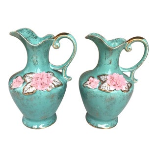 1950s Lefton China Hand Painted and Signed Pitchers - a Pair For Sale