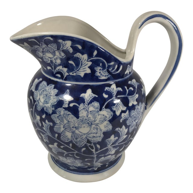 Chinoiserie Blue and White Pitcher - Image 1 of 11