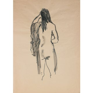 Draped Ink Wash Nude by R. Matteson For Sale