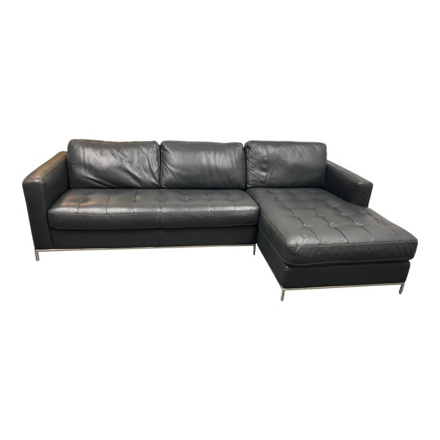 Natuzzi Silvio Pheonix Gray Leather Sectional For Sale