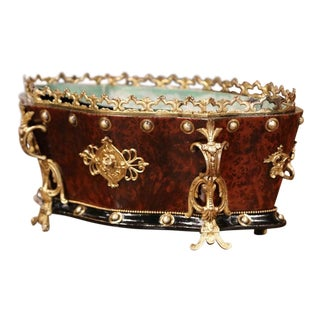 19th Century French Napoleon III Carved Rosewood and Bronze Bombe Jardinière For Sale