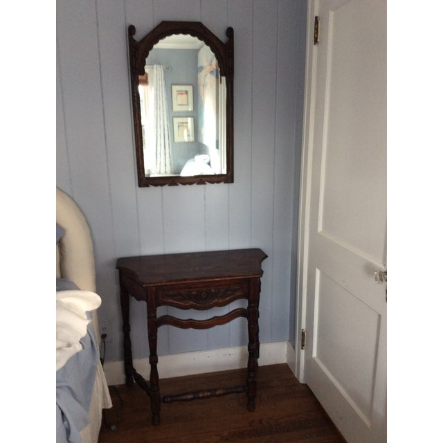 Rustic dark oak console and mirror, great mountain decor. Made in the early 19th century.