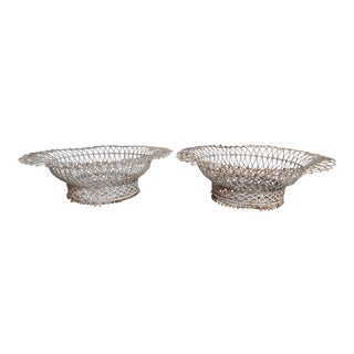 Pair of Painted French Wire Baskets For Sale