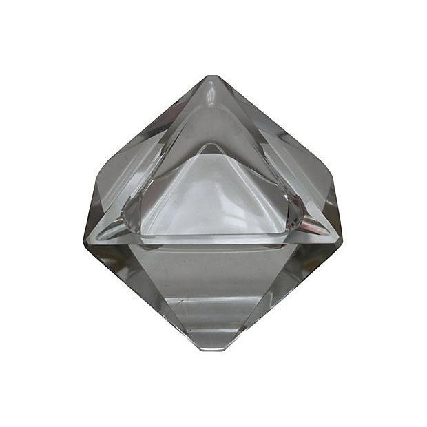 Triangular Lead Crystal Ashtray For Sale