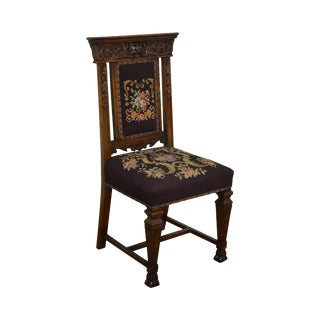 Antique 19th Century Carved Victorian Renaissance Needlepoint Side Chair For Sale