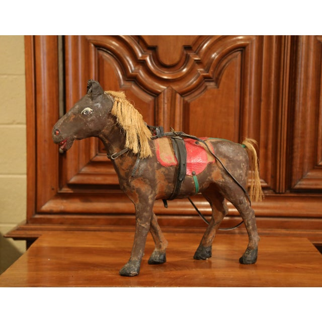 French 19th Century French Leather Papier Mache and Horse Hair Painted Sculpture For Sale - Image 3 of 10