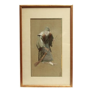 1920s Silk Embroidery Portrait of an Elderly Woman For Sale