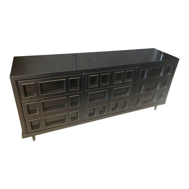 Mid-Century Black Nine Drawer Dresser For Sale