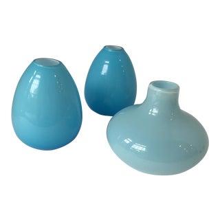 Trio of Aqua Glass Vases For Sale