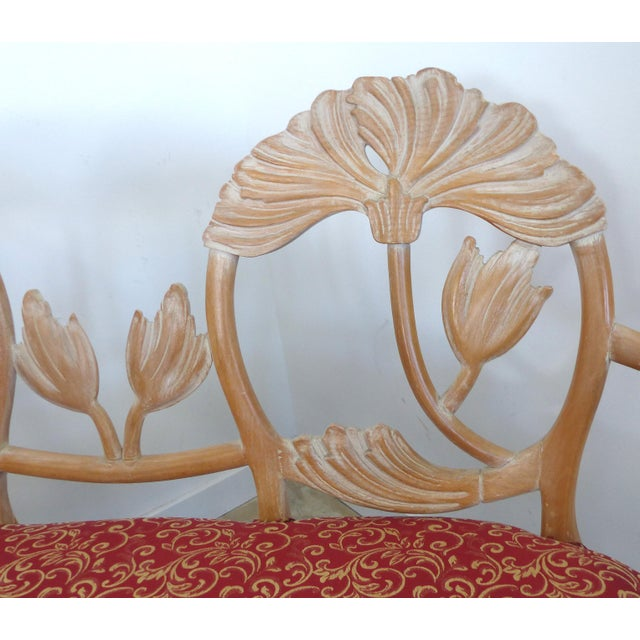 LaVerne Style Carved Wood Settee For Sale In Miami - Image 6 of 12