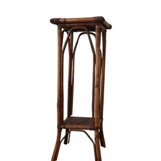 Vintage Bamboo & Rattan Side Table or Pedestal