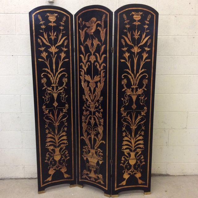 Black Lacquer & Gold Leaf Chinoiserie Wood Carved 3-Panel Screen Room Divider For Sale - Image 11 of 11