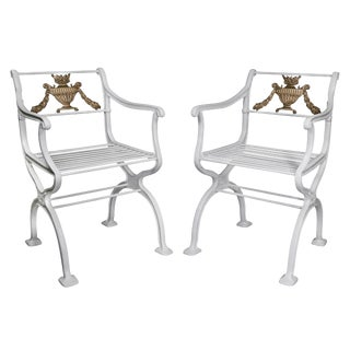 American Cast Iron Garden Chairs by w.a Snow, Boston - a Pair For Sale