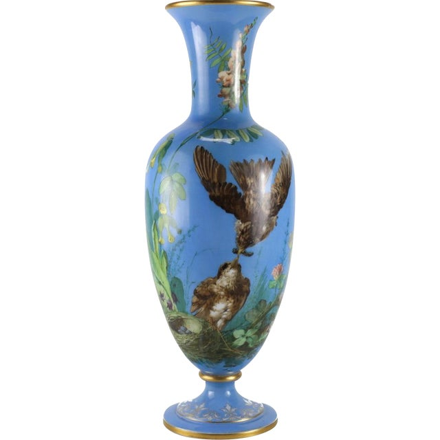 French Opaline Glass Vase Hand Painted Blue With Sparrows, Circa 1900 - Image 2 of 5