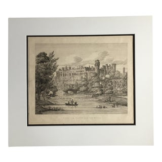 Early 19th Century Antique Warwick Castle, England Print For Sale