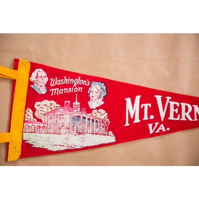 Americana Vintage Mt. Vernon VA Washington's Mansion Felt Flag For Sale - Image 3 of 3