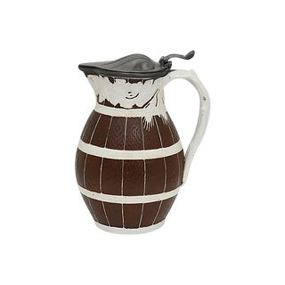 Antique English Stoneware Fence & Vine Wine Jug For Sale
