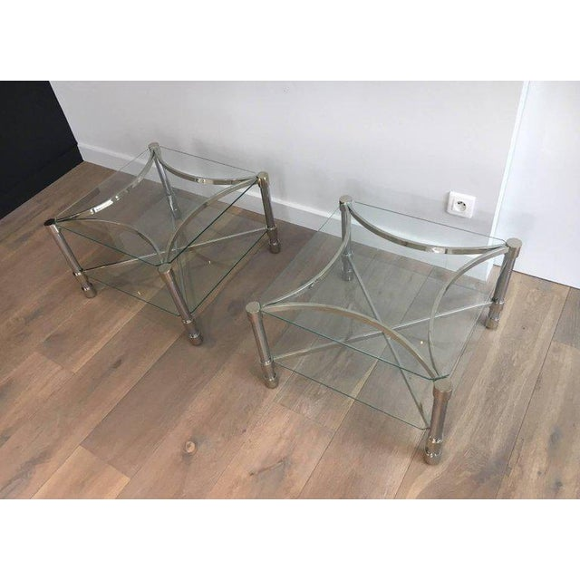 Pair of Double-tiered Chrome Side Tables For Sale - Image 4 of 11