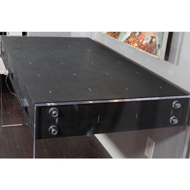 Sleek Black Shagreen Desk with Lucite Side Panels For Sale In New York - Image 6 of 7