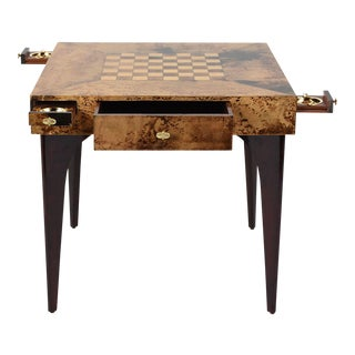 Aldo Tura Modern Burl Wood Veneer Game Table For Sale