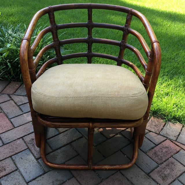 Boho Chic 1970s Boho Chic Brown Jordan Rattan Arm Chair For Sale - Image 3 of 10
