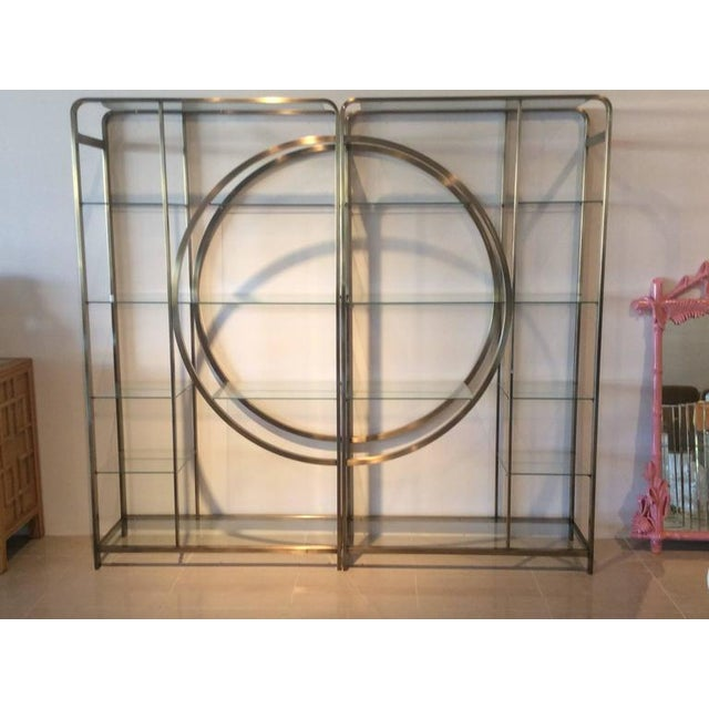 Hollywood Regency Design Institute of America Milo Baughman Vintage Brass Etagere Shelves - A Pair For Sale - Image 3 of 11