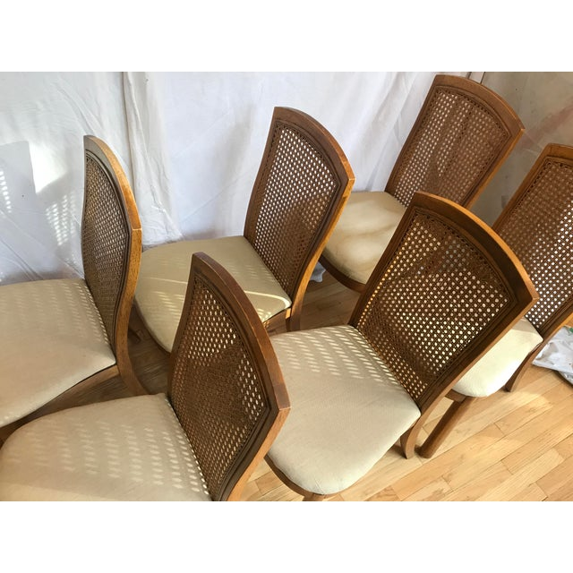 Campaign Drexel Accolade II Campaign Style Cane Back Dining Side Chairs - Set of 6 For Sale - Image 3 of 11