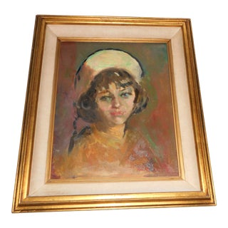 Vintage Realism Painting - Portrait of a Young Lady in Hat For Sale