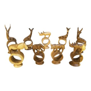 Holiday Sale!! Vintage African Handcarved Wooden Animal Napkin Rings - Set of 9