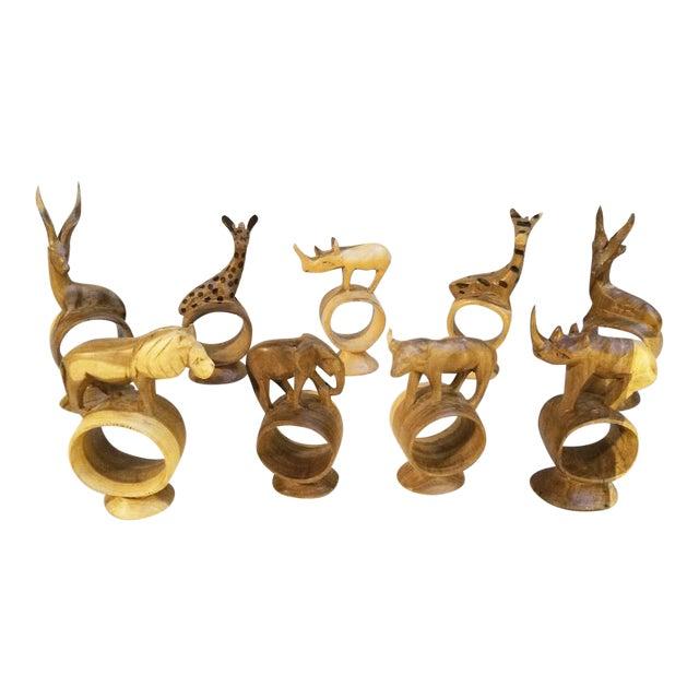 Holiday Sale!! Vintage African Handcarved Wooden Animal Napkin Rings - Set of 9 For Sale