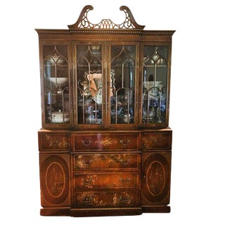 20th Century Chinoiserie Breakfront China Cabinet For Sale