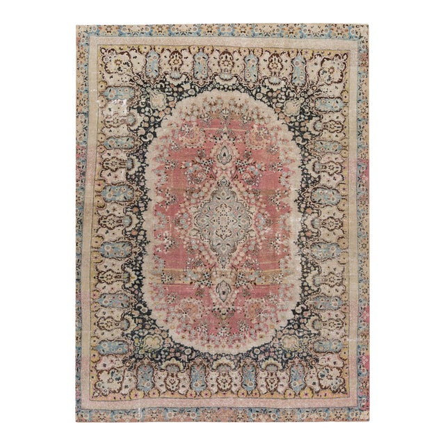 Distressed Vintage Mashad Rug For Sale