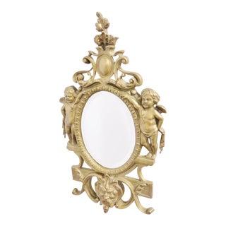 Victorian Figural Brass Mirror
