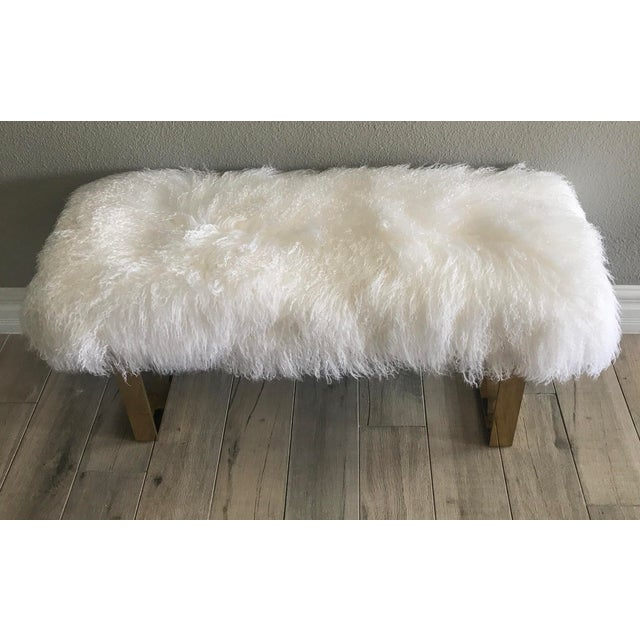 Hollywood Regency Large Mongolian Sheepskin and Brass Bench For Sale - Image 5 of 6