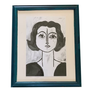Black & White Portrait Print of Original Painting For Sale