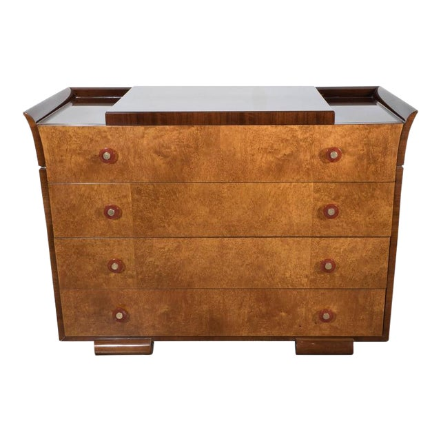 Art Deco Skyscraper Style Chest in Bookmatched Burled Elm, Mahogany and Walnut - Image 1 of 11