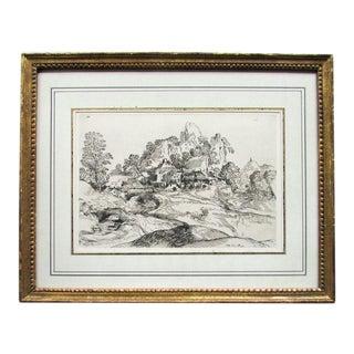 18th Century Antique French Cabinet Du Roy Landscape Etching Print For Sale