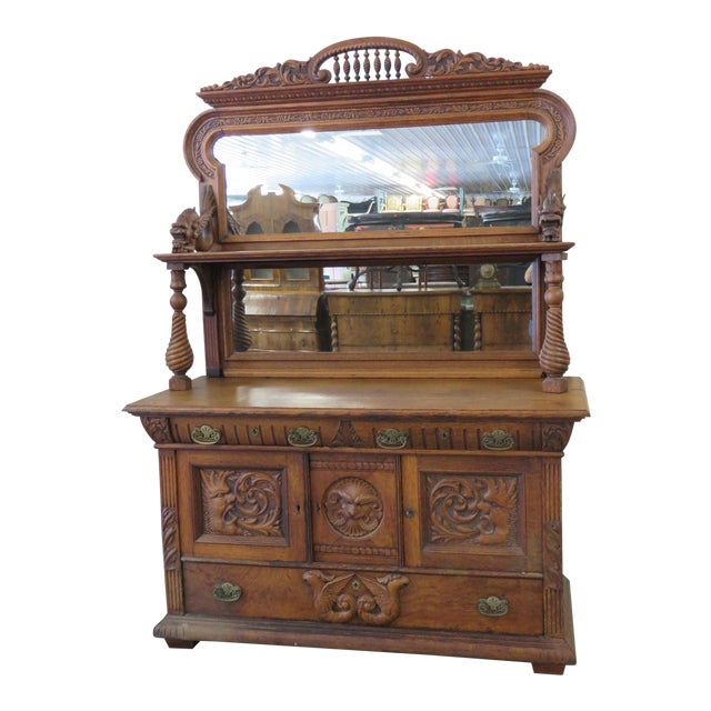Early 20th Century Renaissance Style Sideboard With Superstructure For Sale