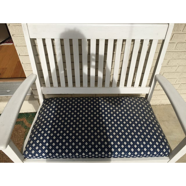 Mission-Style White & Navy Bench - Image 4 of 6