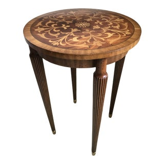 Maitland-Smith Floral Inlay Round Side Table For Sale