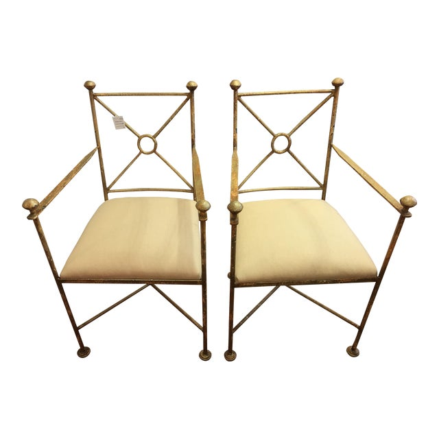 Vintage Gilt Iron Chairs - A Pair - Image 1 of 8