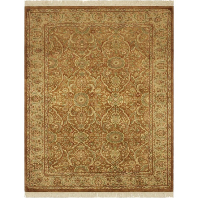 Green Pak-Persian Jenise Lt. Brown/Lt. Tan Wool Rug - 4'7 X 6'11 For Sale - Image 8 of 8