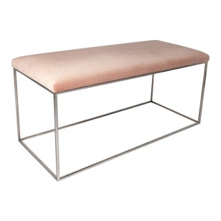 Minimalist Chrome Bench in Pink Mohair For Sale