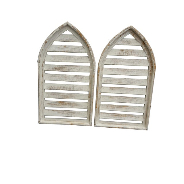 2000 - 2009 Pair Rustic Shabby Cottage Distressed Cathedral Shutter Window For Sale - Image 5 of 5