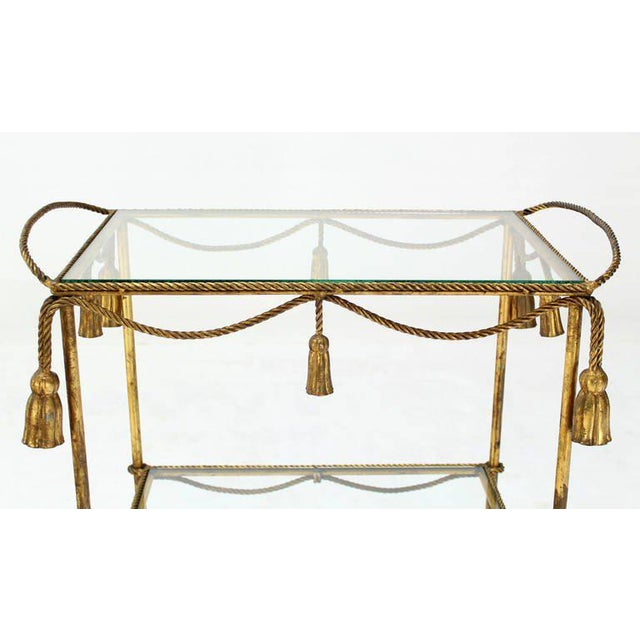 Early 20th Century Midcentury Italian Gilt Metal Rope and Tassel Bar or Tea Cart For Sale - Image 5 of 10