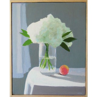 White Hydrangea With a Peach by Anne Carrozza Remick
